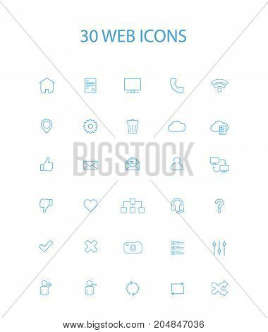 30 Blue Color Simple Web Icons Vector Illustration