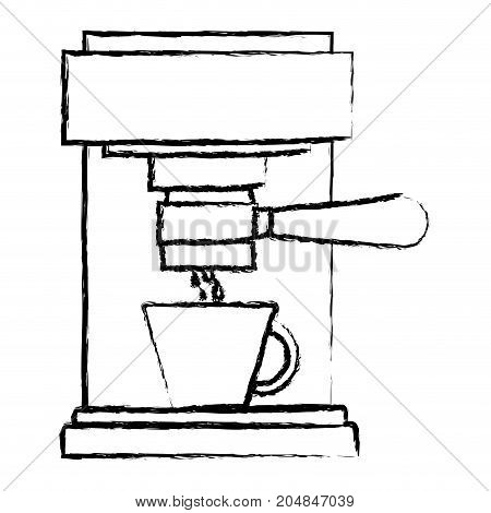 coffee espresso machine front view monochrome blurred silhouette vector illustration