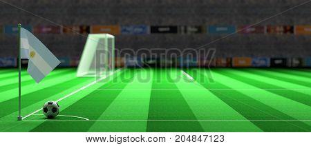 Argentina Flag On A Soccer Field. 3D Illustration