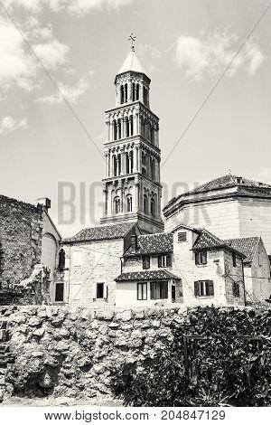 Cathedral of Saint Domnius in Split Croatia. Religious architecture. Travel destination. Black and white photo.