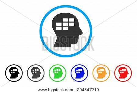 Schedule Thinking rounded icon. Style is a flat schedule thinking grey symbol inside light blue circle with black, gray, green, blue, red, orange variants.
