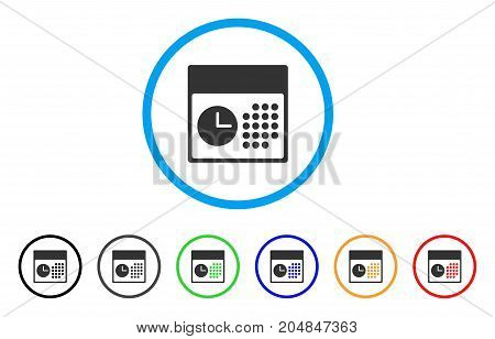 Time And Date rounded icon. Style is a flat time and date gray symbol inside light blue circle with black, gray, green, blue, red, orange variants. Vector designed for web and software interfaces.