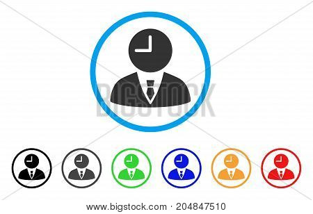Time Manager rounded icon. Style is a flat time manager grey symbol inside light blue circle with black, gray, green, blue, red, orange variants. Vector designed for web and software interfaces.