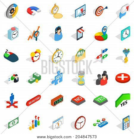 Teamwork icons set. Isometric style of 36 teamwork vector icons for web isolated on white background
