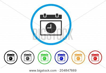 Time Schedule rounded icon. Style is a flat time schedule gray symbol inside light blue circle with black, gray, green, blue, red, orange color versions.
