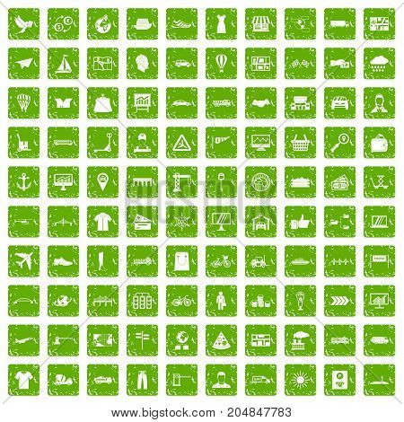 100 logistic and delivery icons set in grunge style green color isolated on white background vector illustration