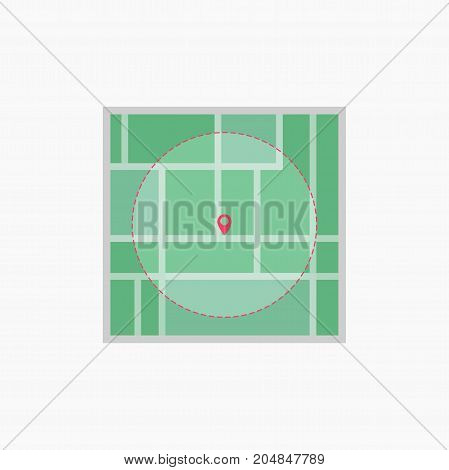 Vector icon. Map of the city. Point on the map. Pin and the distance, GPS navigator . Flat style eps jpg