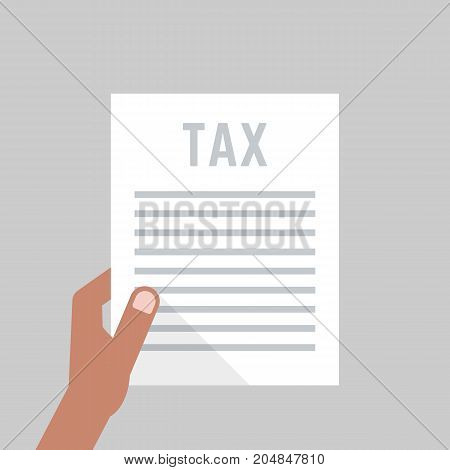 dark-skinned hand holding tax form. concept of human rights, hmrc, control list, closeup, interview, validation. flat style trend modern tax form graphic design vector illustration on white background