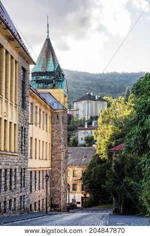 Old real school in mining town Banska Stiavnica Slovak republic. Travel destination.