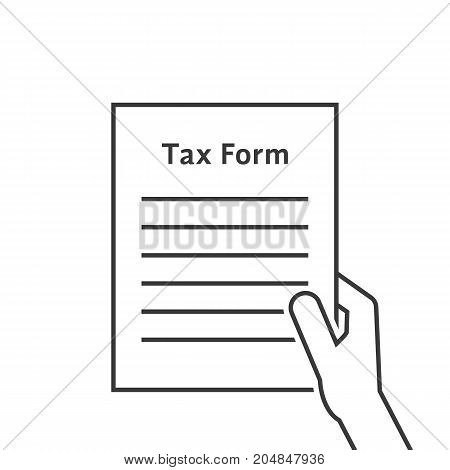 thin line hand holding tax form. concept of human rights, hmrc, control list closeup, tax interview, validation. flat style trend modern tax form graphic design vector illustration on white background