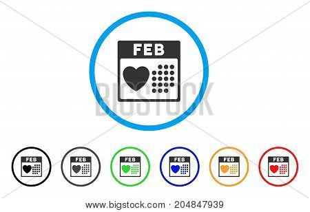 Valentine February Day rounded icon. Style is a flat valentine february day grey symbol inside light blue circle with black, gray, green, blue, red, orange color versions.