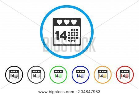 Valentine Love Day rounded icon. Style is a flat valentine love day gray symbol inside light blue circle with black, gray, green, blue, red, orange color versions.