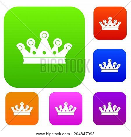 Royal crown set icon color in flat style isolated on white. Collection sings vector illustration