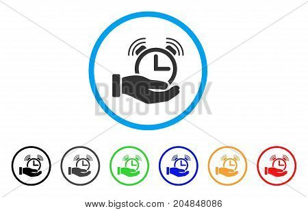 Alarm Service rounded icon. Style is a flat alarm service gray symbol inside light blue circle with black, gray, green, blue, red, orange versions. Vector designed for web and software interfaces.