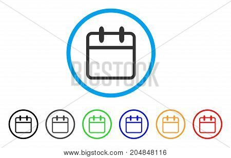 Calendar Leaf rounded icon. Style is a flat calendar leaf gray symbol inside light blue circle with black, gray, green, blue, red, orange variants. Vector designed for web and software interfaces.