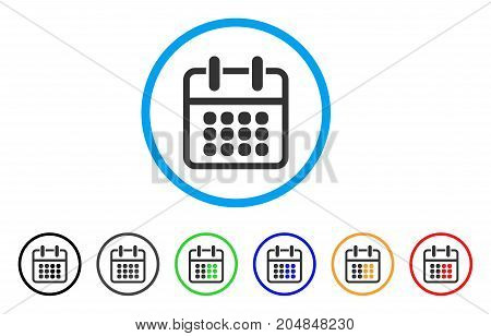 Calendar Poster rounded icon. Style is a flat calendar poster gray symbol inside light blue circle with black, gray, green, blue, red, orange variants. Vector designed for web and software interfaces.
