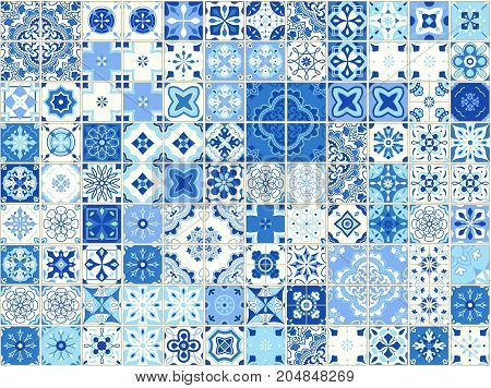 Seamless pattern with Portuguese tiles. Vector illustration of Azulejo on white background. Mediterranean style. Blue design.