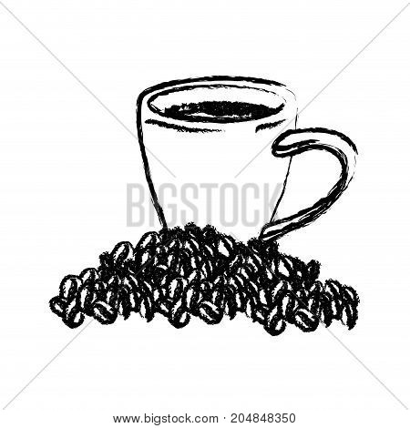 porcelain cup and beans of coffee monochrome blurred silhouette vector illustration