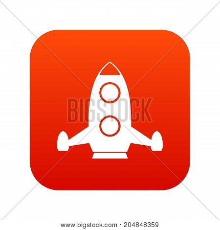 Rocket icon digital red for any design isolated on white vector illustration