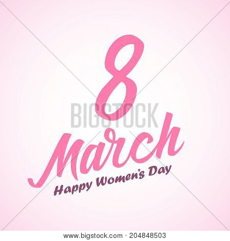 Women day lettering on pink background. 8 march. Vector illustration