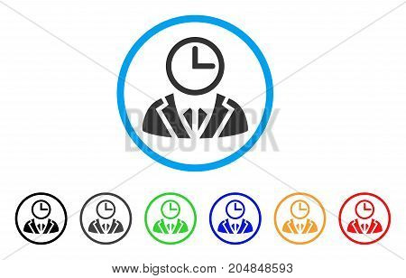 Duty Person rounded icon. Style is a flat duty person grey symbol inside light blue circle with black, gray, green, blue, red, orange variants. Vector designed for web and software interfaces.