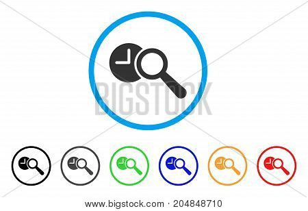 Find Time rounded icon. Style is a flat find time grey symbol inside light blue circle with black, gray, green, blue, red, orange versions. Vector designed for web and software interfaces.