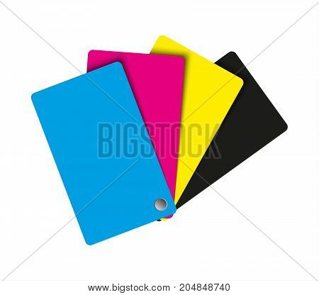 Cmyk palette abstract sheets of paper in cmyk colors vector illustration