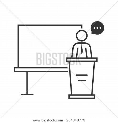 thin line spokesperson with black board. concept of e-learning, webinar, distance tutor, coach, leader, simple knowledge. flat style trend modern logo design vector illustration on white background