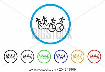 Men Running Over Clocks rounded icon. Style is a flat men running over clocks gray symbol inside light blue circle with black, gray, green, blue, red, orange versions.