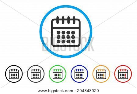 Spiral Calendar rounded icon. Style is a flat spiral calendar grey symbol inside light blue circle with black, gray, green, blue, red, orange versions. Vector designed for web and software interfaces.