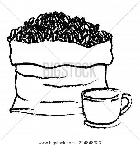 bag with beans and cup of coffee with handle monochrome blurred silhouette vector illustration