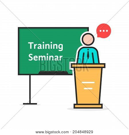 training seminar with linear spokesman. concept of e-learning, webinar, distance tutor, coach, ceo leader, simple knowledge. flat style trend modern logo design vector illustration on white background