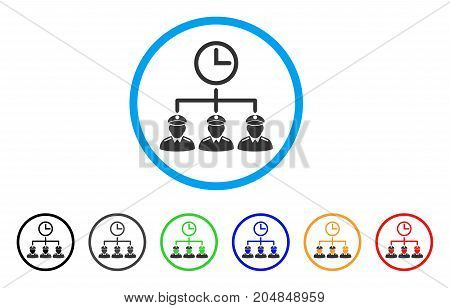 Time Army rounded icon. Style is a flat time army grey symbol inside light blue circle with black, gray, green, blue, red, orange color versions. Vector designed for web and software interfaces.