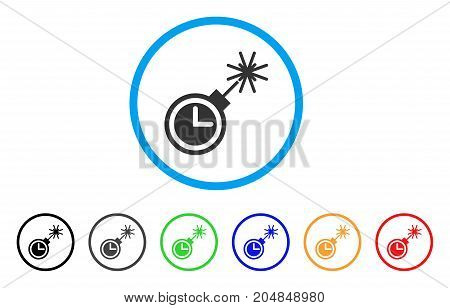 Time Bomb rounded icon. Style is a flat time bomb grey symbol inside light blue circle with black, gray, green, blue, red, orange variants. Vector designed for web and software interfaces.