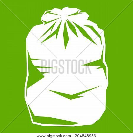 Black trash bag icon white isolated on green background. Vector illustration