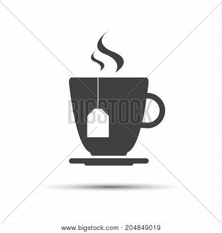 Simple grey cup of tea with a tea gab tag isolated on white background vector icon