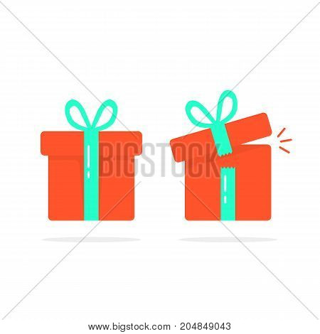 red closed and open gift boxes. concept of minimal kit, marvel, precious, giftbox strip, wonder, miracle, magic, xmas season, parcel. flat style logo design vector illustration on white background