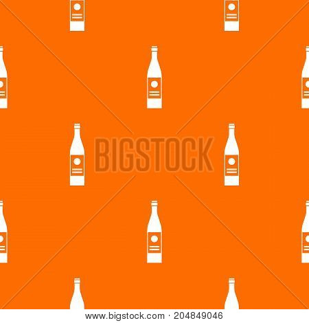 Wine bottle pattern repeat seamless in orange color for any design. Vector geometric illustration
