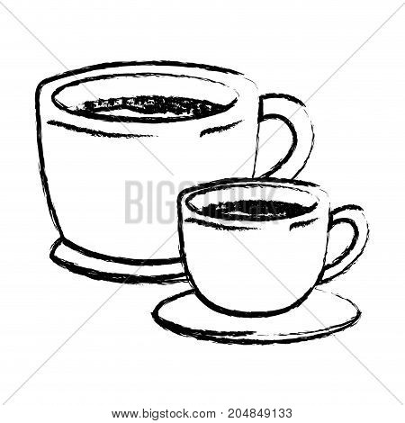 set big and small cup of coffee with handle monochrome blurred silhouette vector illustration