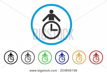 Time Manager rounded icon. Style is a flat time manager gray symbol inside light blue circle with black, gray, green, blue, red, orange variants. Vector designed for web and software interfaces.