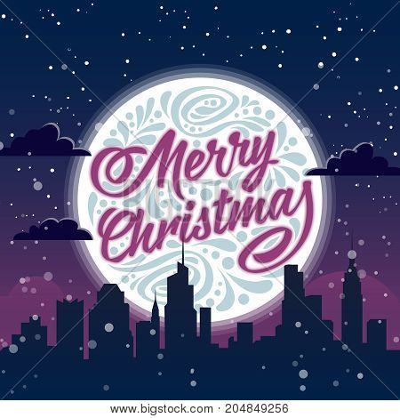 Holiday greeting card with typography on background of night christmas city. Merry Christmas