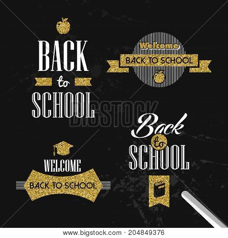 Back To School Gold Glitter Typography Quote Set