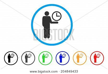 Waiter rounded icon. Style is a flat waiter gray symbol inside light blue circle with black, gray, green, blue, red, orange variants. Vector designed for web and software interfaces.