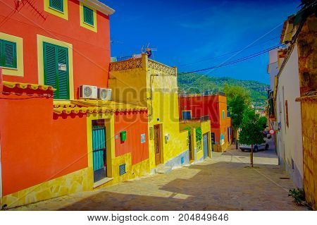 PORT D ANDRATX, SPAIN - AUGUST 18 2017: Beautiful view of small old steet in Port D Andratx town, located in Mallorca balearic islands, Spain.