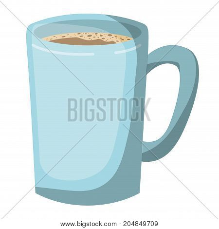 tubular mug of coffee realistic colorful silhouette vector illustration