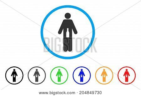 WC Man rounded icon. Style is a flat wc man grey symbol inside light blue circle with black, gray, green, blue, red, orange versions. Vector designed for web and software interfaces.