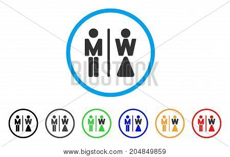 WC Persons rounded icon. Style is a flat wc persons grey symbol inside light blue circle with black, gray, green, blue, red, orange versions. Vector designed for web and software interfaces.