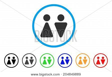 WC Persons rounded icon. Style is a flat wc persons grey symbol inside light blue circle with black, gray, green, blue, red, orange color versions. Vector designed for web and software interfaces.