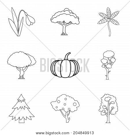 Fresh air icons set. Outline set of 9 fresh air vector icons for web isolated on white background