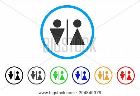 WC Persons rounded icon. Style is a flat wc persons grey symbol inside light blue circle with black, gray, green, blue, red, orange variants. Vector designed for web and software interfaces.